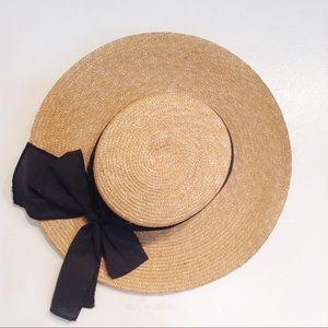 Casablanca Bags Straw Black Bow Sash Vacation Hat